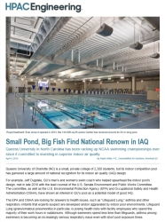 Screenshot of HPAC Engineering article. Queen's University in North Carolina has garnered renown for the outstanding air quality of its indoor pool.
